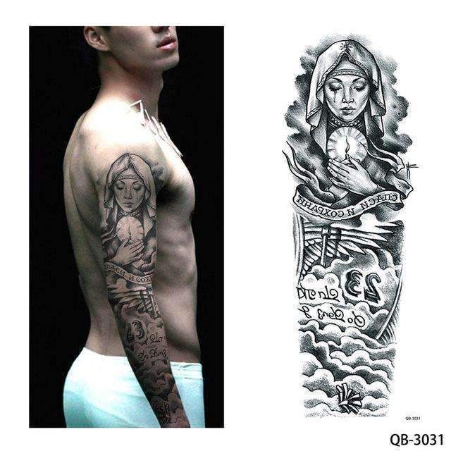 846fe3524 1 Piece Temporary Tattoo Sticker Nun Girl Pray Design Full Flower Arm Body  Art Beckham Big Large Fake Tattoo Sticker New Qb-3031