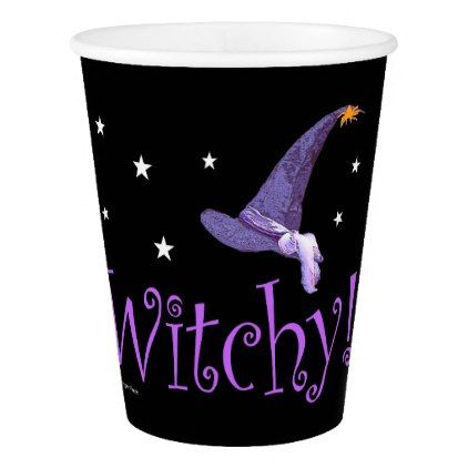 Witchy Paper Cup - halloween decor diy cyo personalize unique party