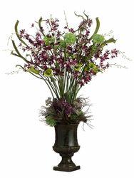 44 Artificial Allium Lilac Lily Oncidium Orchid Arrangement In Urn Oncidium Orchids Orchid Arrangements Oncidium