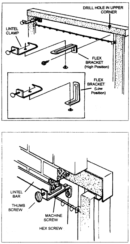 "Now you can install almost any masonry fireplace door with our combination mounting kit.  Lintel Clamp Kit Includes:  Lintel Brackets Flex Brackets Bottom Brackets Thumb Screws Adjusts From 2"" to 7"""