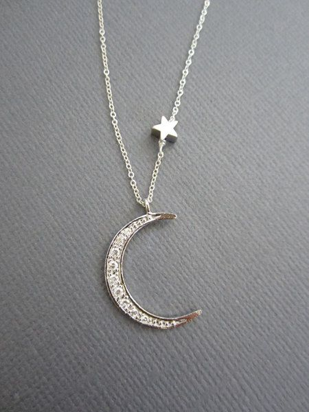 Moon And Star Necklace Star And Moon Necklace Star By