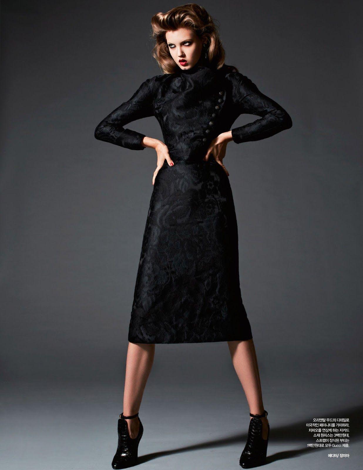 lady black: lindsey wixson by michael schwartz for harper's bazaar korea november 2012