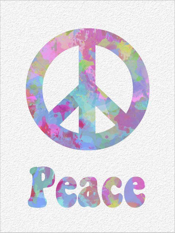 Peace Sign Symbol Archival Watercolor Art By Imagedesignstudio