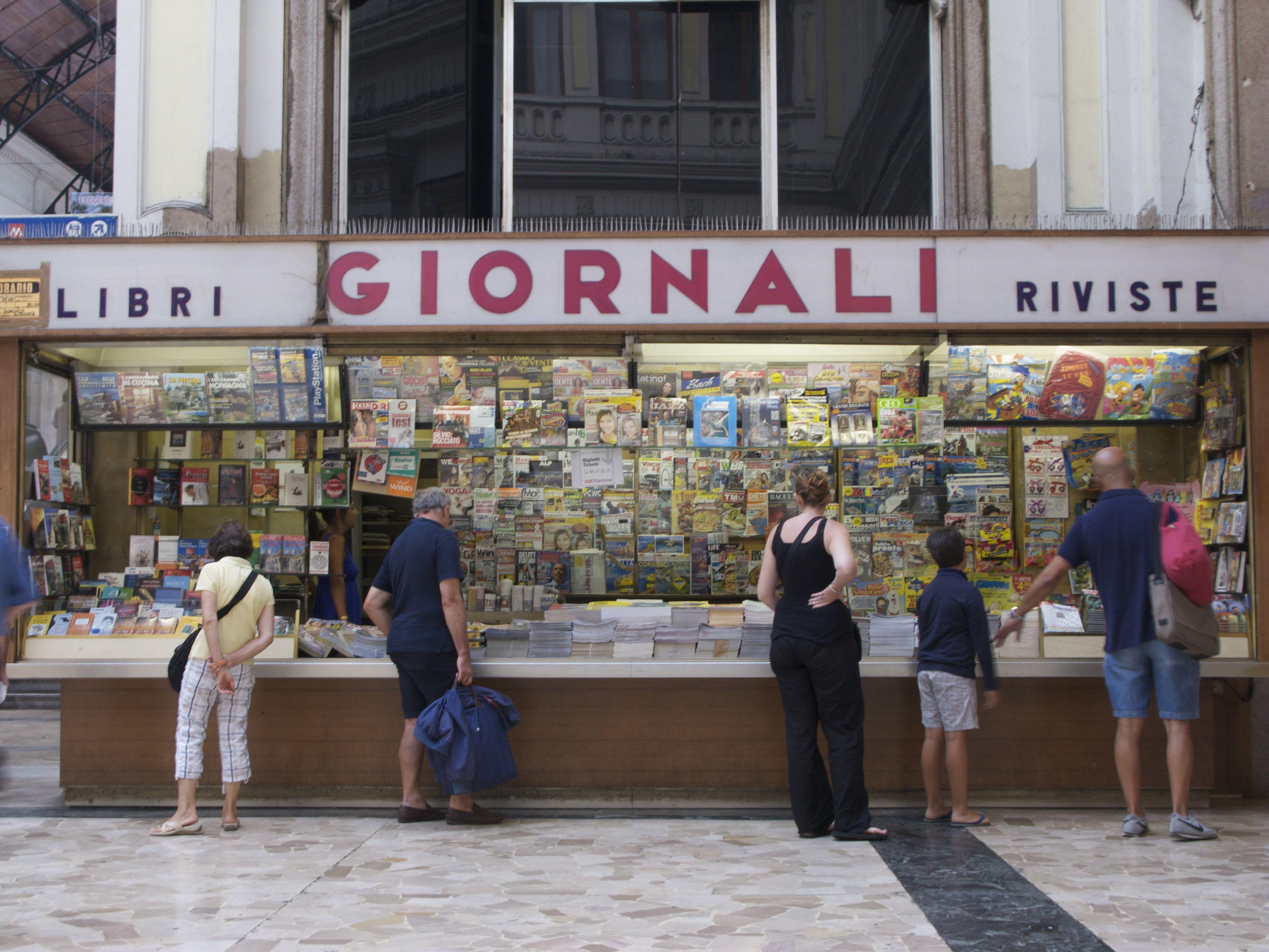 Newspaper stand, Genoa, Italy