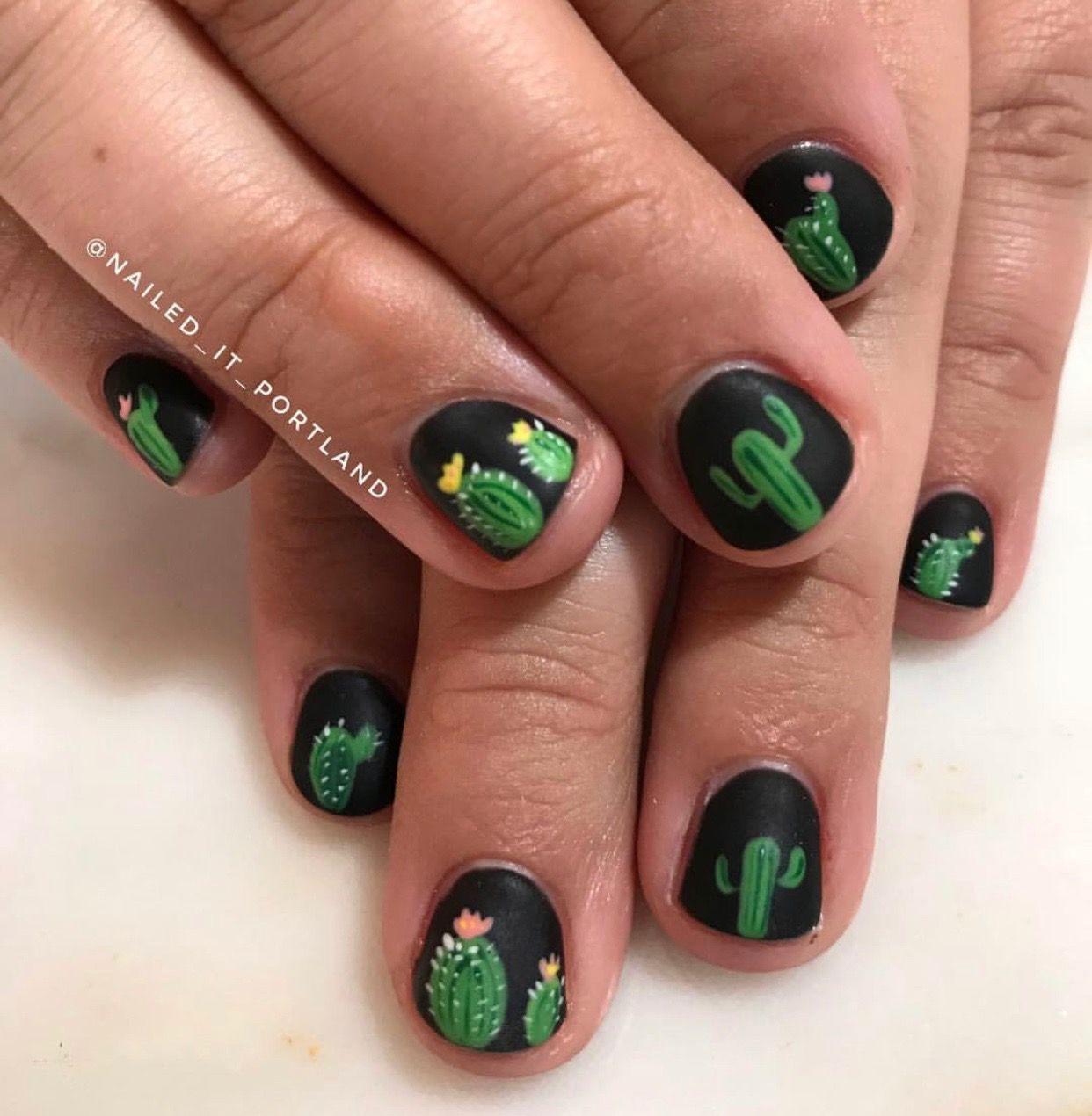 Black Nails With Cactus Nail Art Nails Nail Art Toe Nail Art