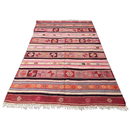 Vintage Handwoven Turkish Kilim Rug - 4\'6\