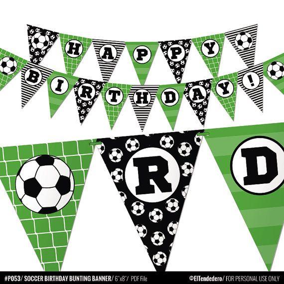 Soccer Birthday Banner - Boy Sports Bunting Banner Decor ...