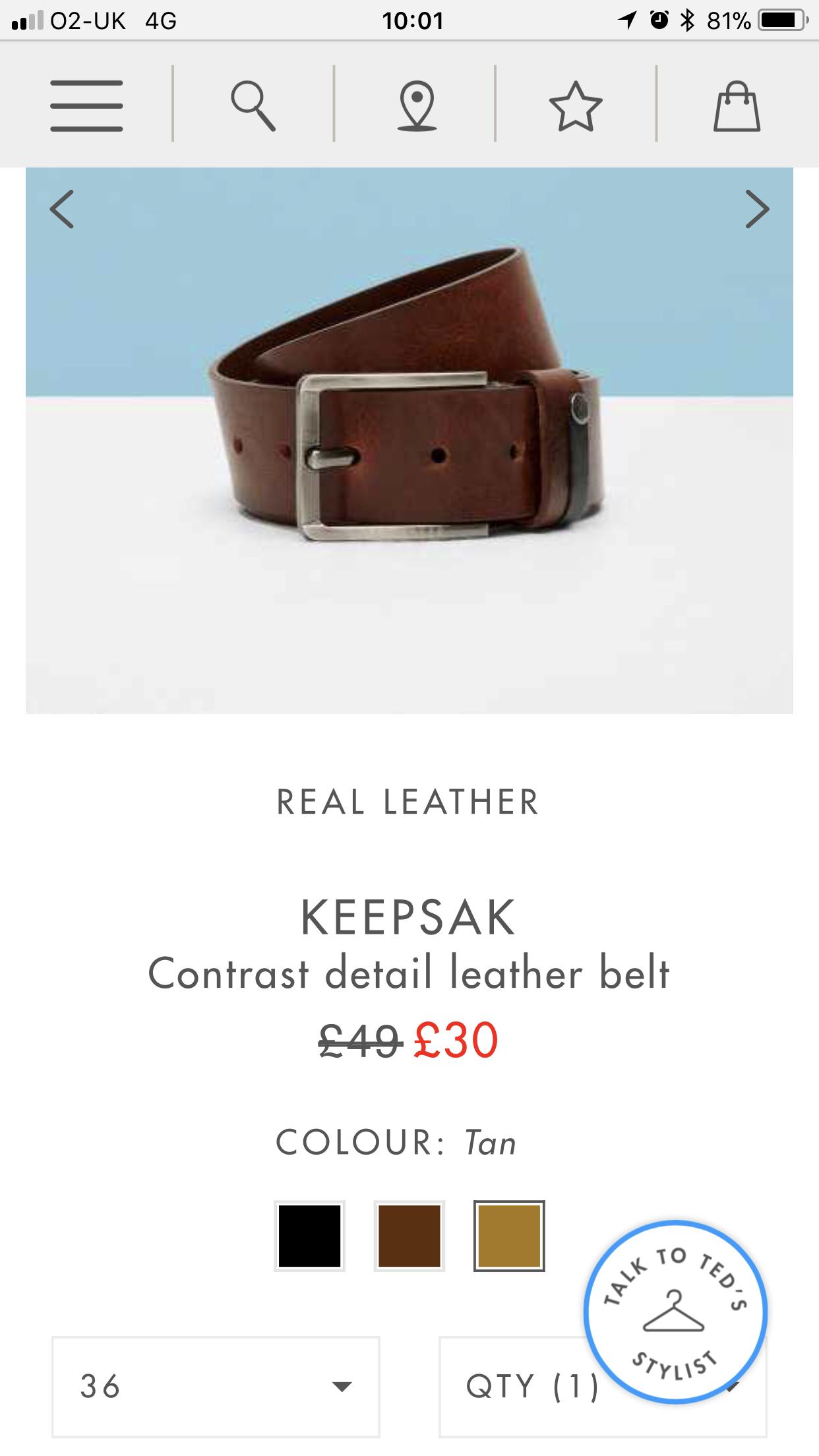 1d752d014 Ted Baker belt. Tan colour