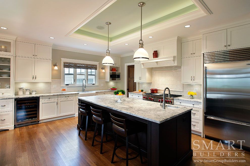 Contemporary craftsman style custom home kitchen honed for Modern craftsman lighting