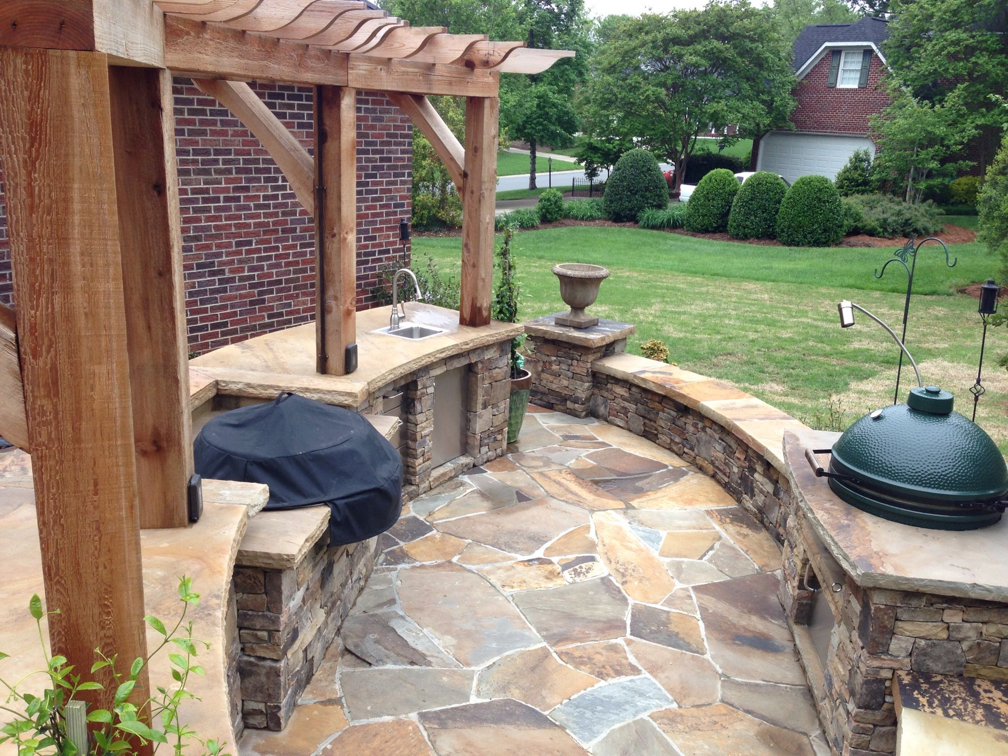 An EVO G And An XLG Big Green Egg In A Fireside Outdoor Kitchen - Backyard design charlotte
