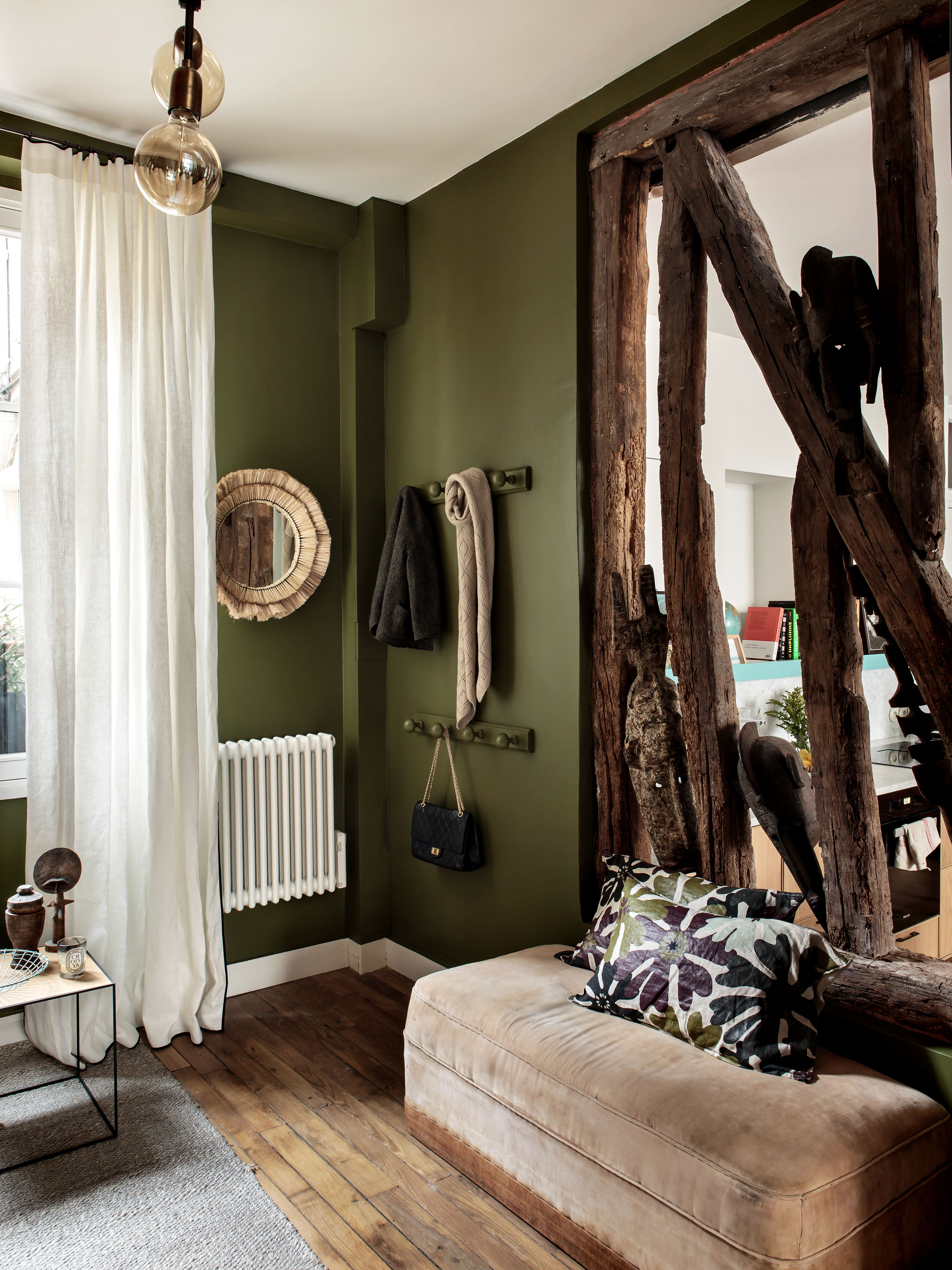 This Living Room Decor Is Painted In Farrow Ball Bancha Interior Architect Camille Hermand P Olive Living Rooms Living Room Wall Color Brown Living Room Olive green and brown living room