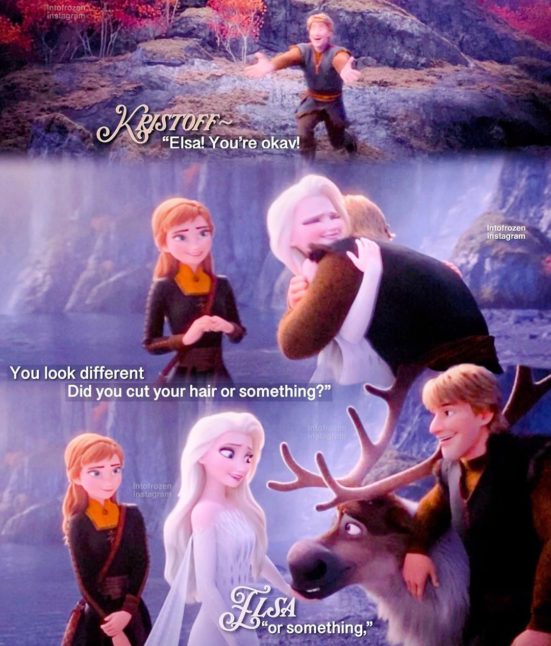 Disney Frozen On Instagram Reunion I Love How Elsa And Kristoff Are Also Very Close Frozen2 Froz Disney Frozen Frozen Disney Movie Disney Funny