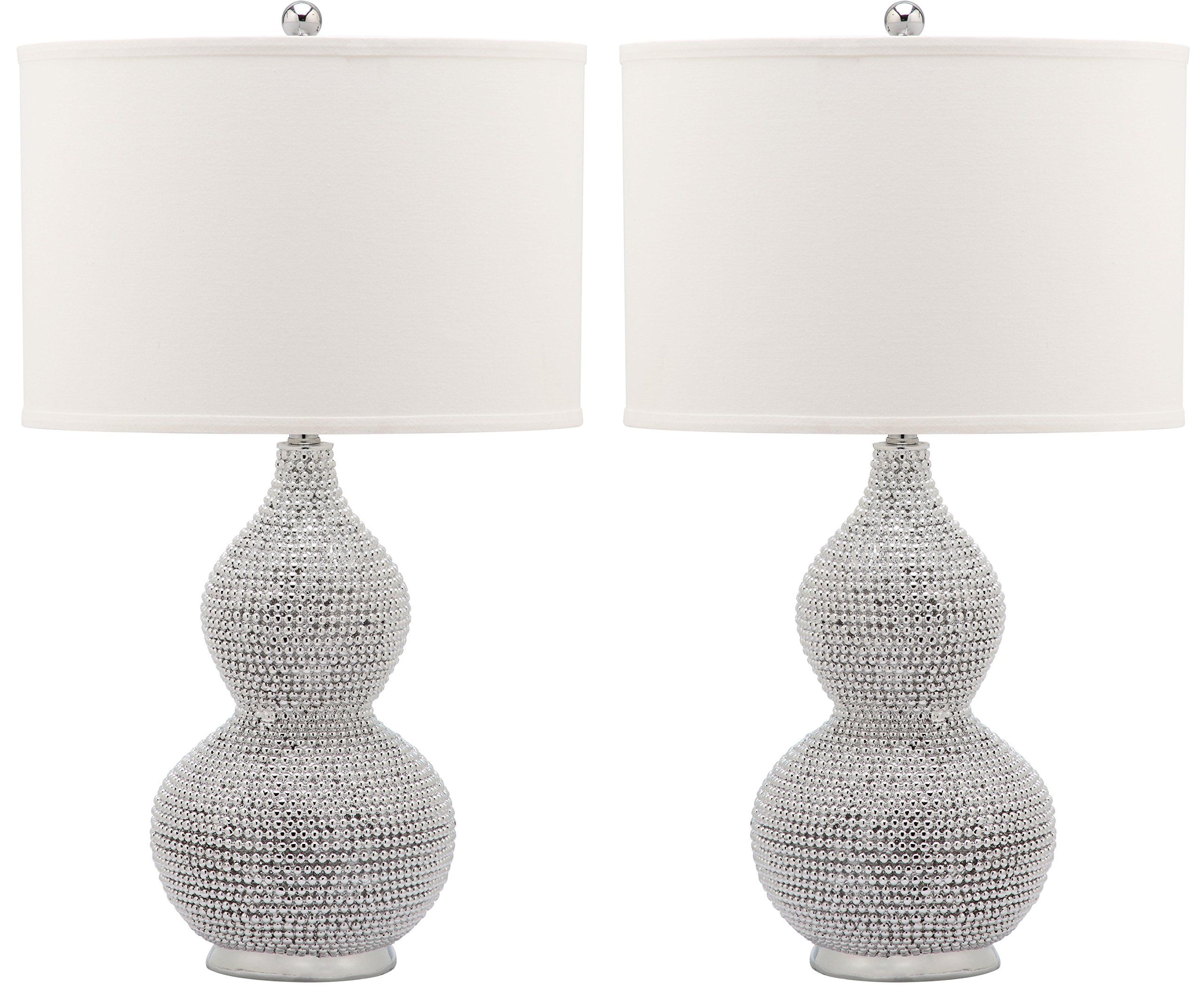 Set Of Two Table Lamps Safavieh Lighting Collection Nicole Bead Base 24 Inch Table Lamp