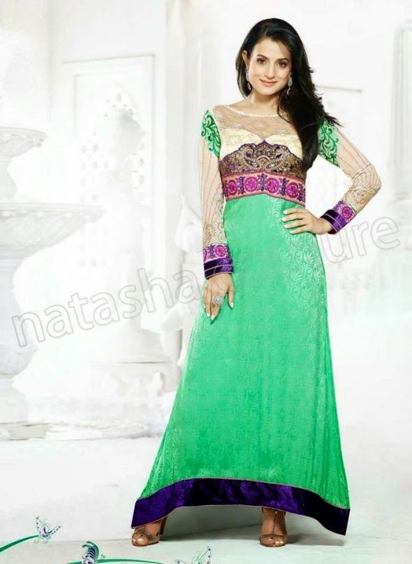 Latest Designs Of Indian Churidar Suits For Summer 2014 With Ameesha Patel By Natasha Couture   Styles4Me