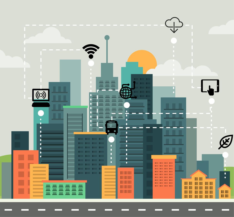Smart City Cidade Desenho Design Plano Ilustracao Da Cidade