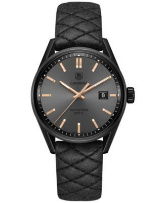 e97006f815b TAG Heuer Women's Swiss Carrera Black Quilted Leather Strap Watch 41mm  WAR101A.FC6367 - Cara Delevingne Special Edition
