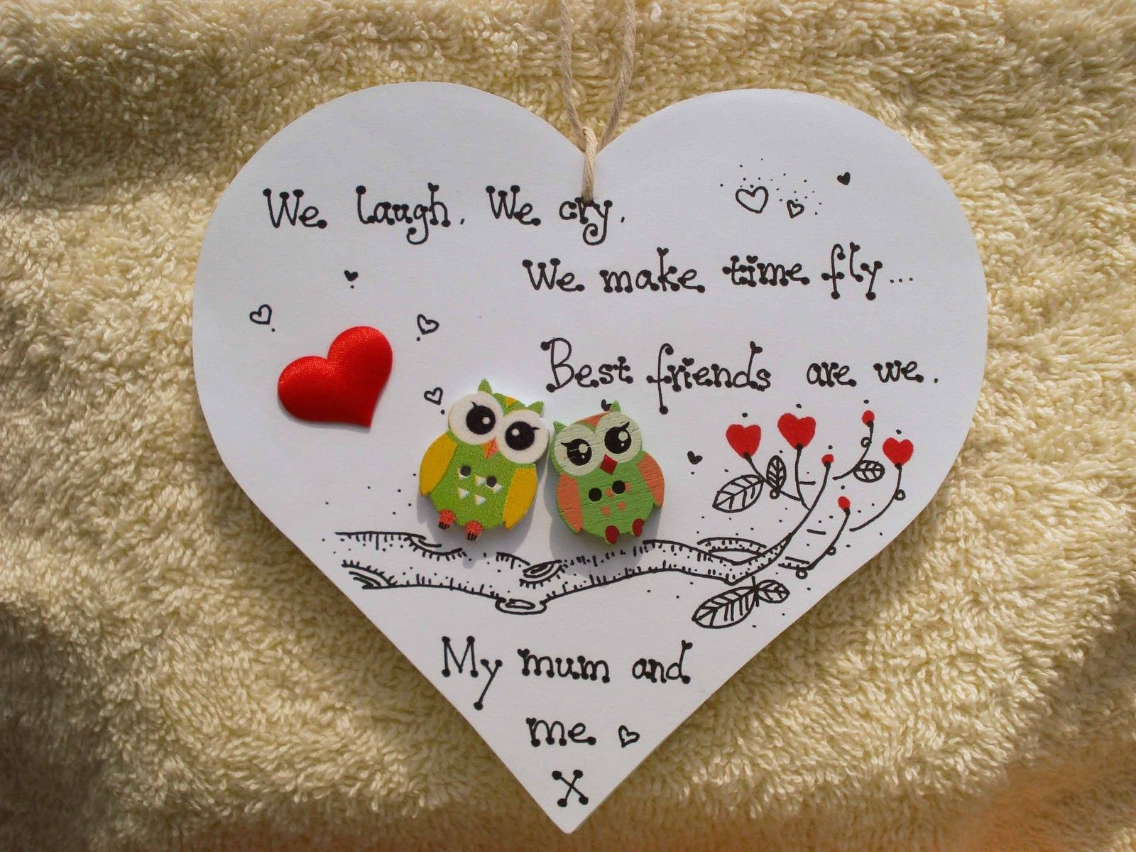 Shabby Chic Personalised Wooden Heart Plaque Handmade Gift For Mum