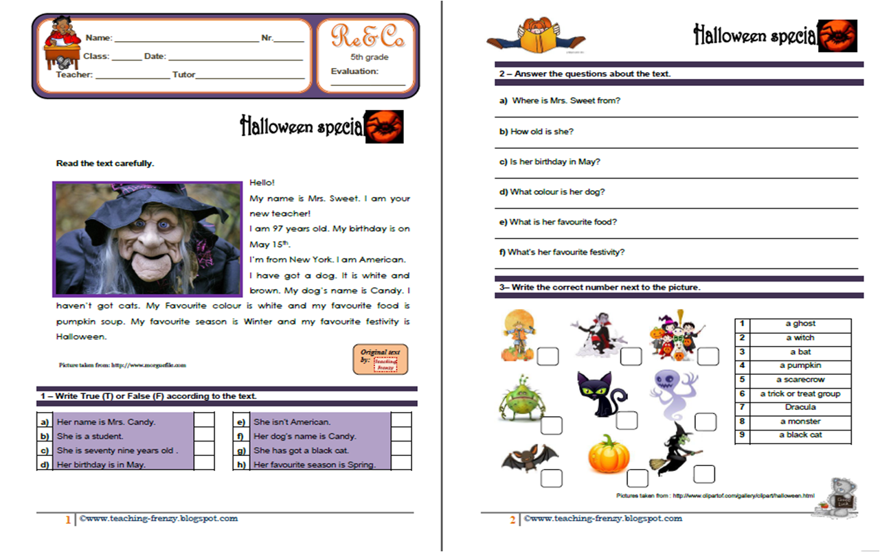 Teaching Frenzy Halloween Reading Comprehension Ws 5th