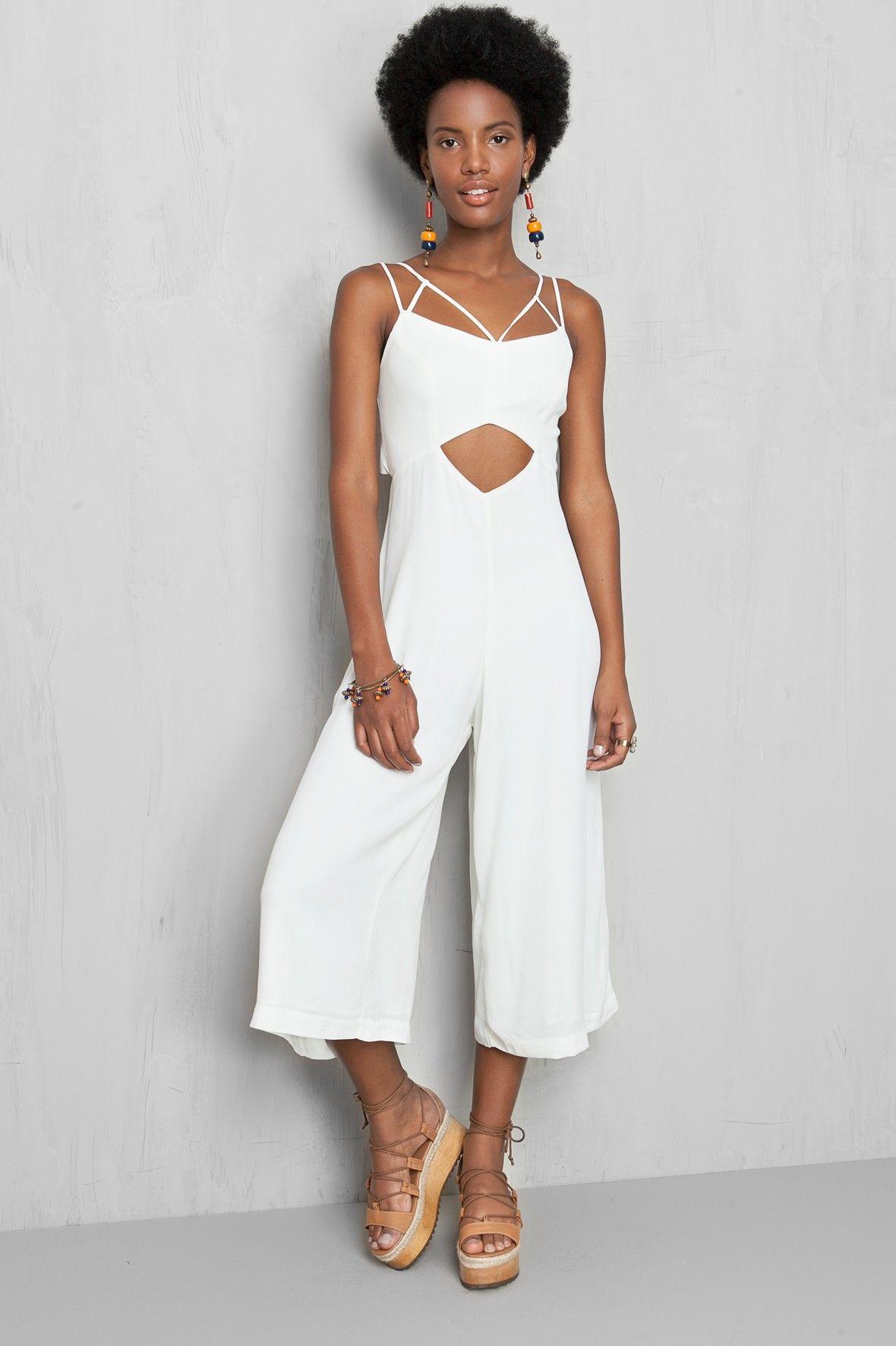 48e24a363 macacão pantacourt alcinhas | Dress to | Style | Macacão para ...