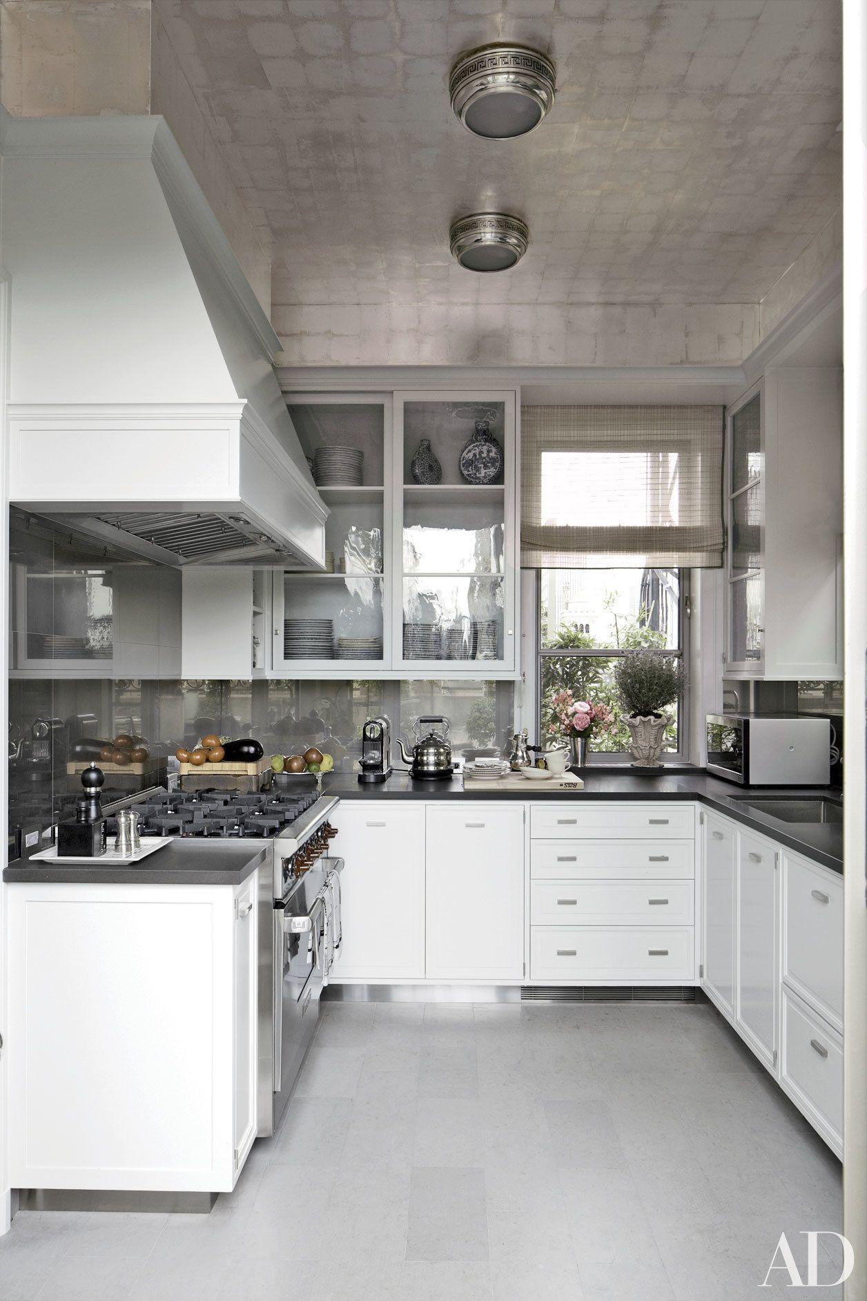 These 12 Metallic Rooms Really Shine Black Kitchen Countertops Kitchen Design Kitchen Renovation