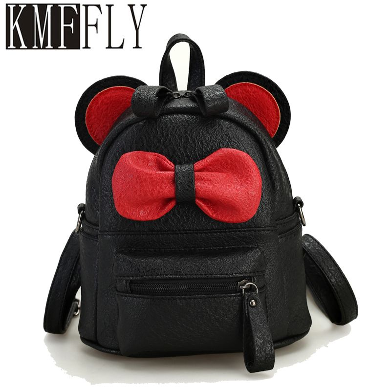 Women Girls Cute PU Leather Minnie Mouse Big Bow Backpack Travelling School Bag