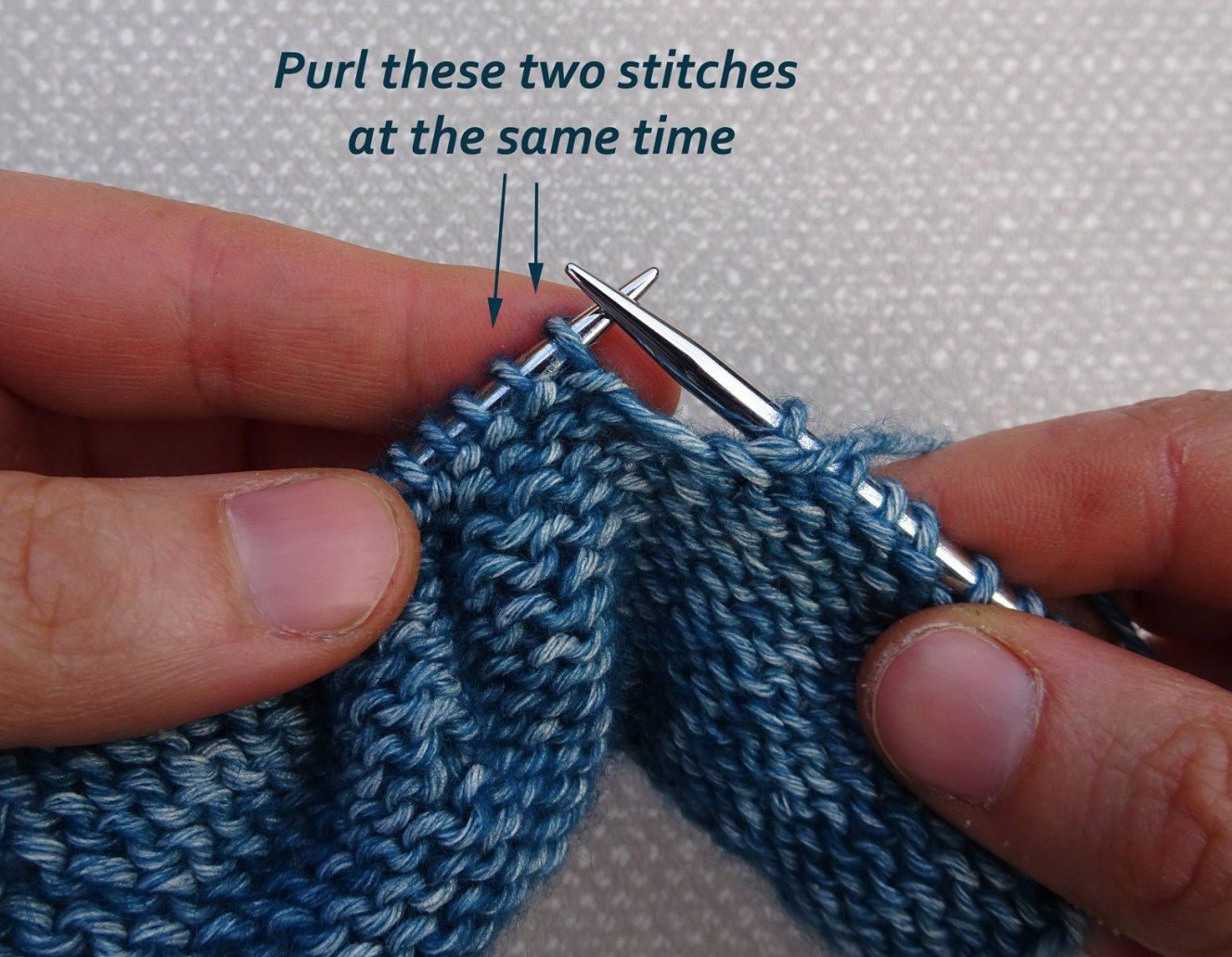 How to Knit two together (K2tog) and Purl two together