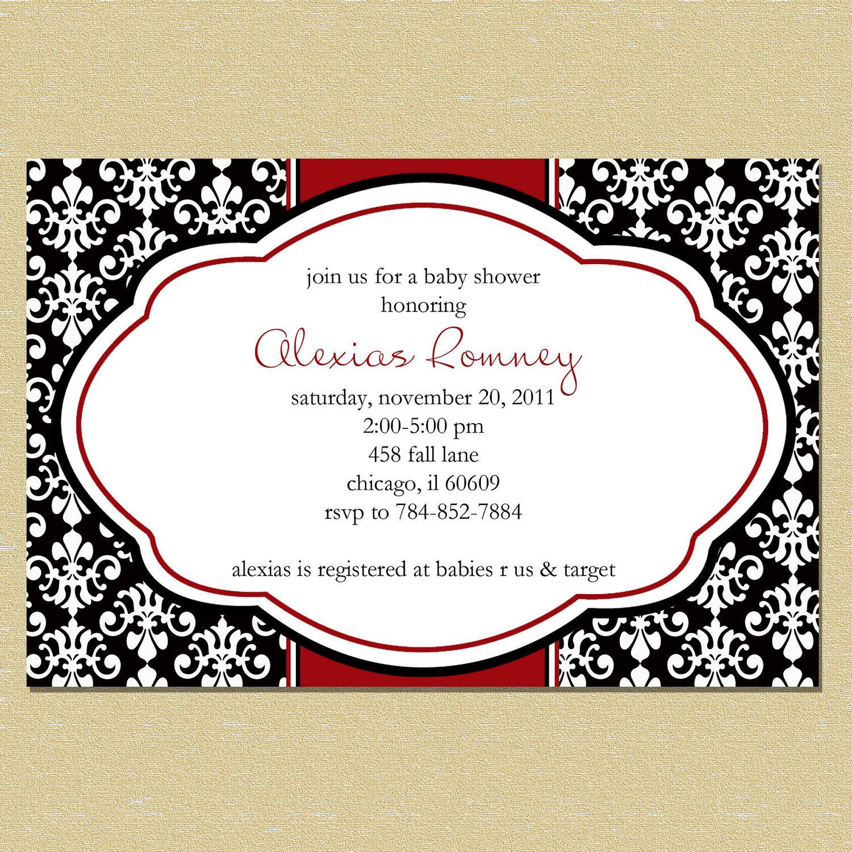Christmas Elegant Red Damask Bridal Or Baby Shower Invitation $1000,