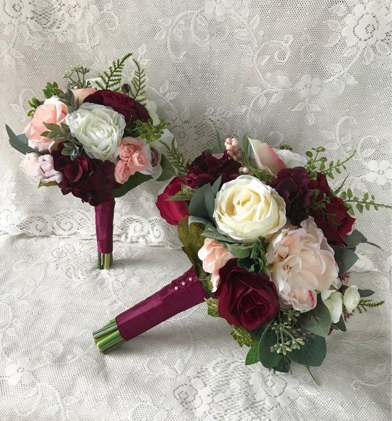 Wedding Bouquets Not Flowers: Wedding Bouquet,Burgundy Wine Bridal Bouquet,Blush Bouquet