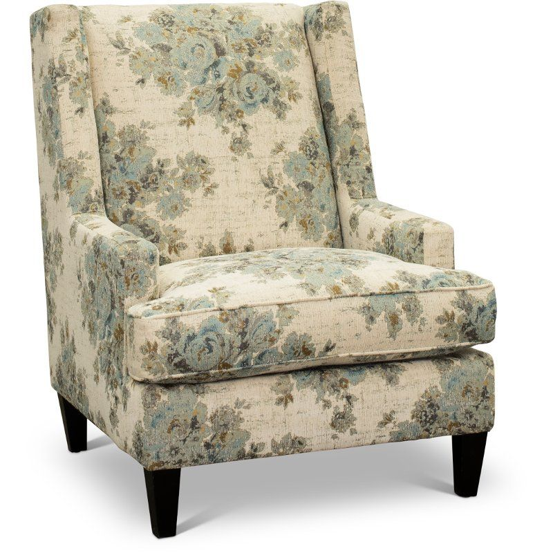 Best Traditional Blue And Cream Floral Accent Chair Aram 400 x 300