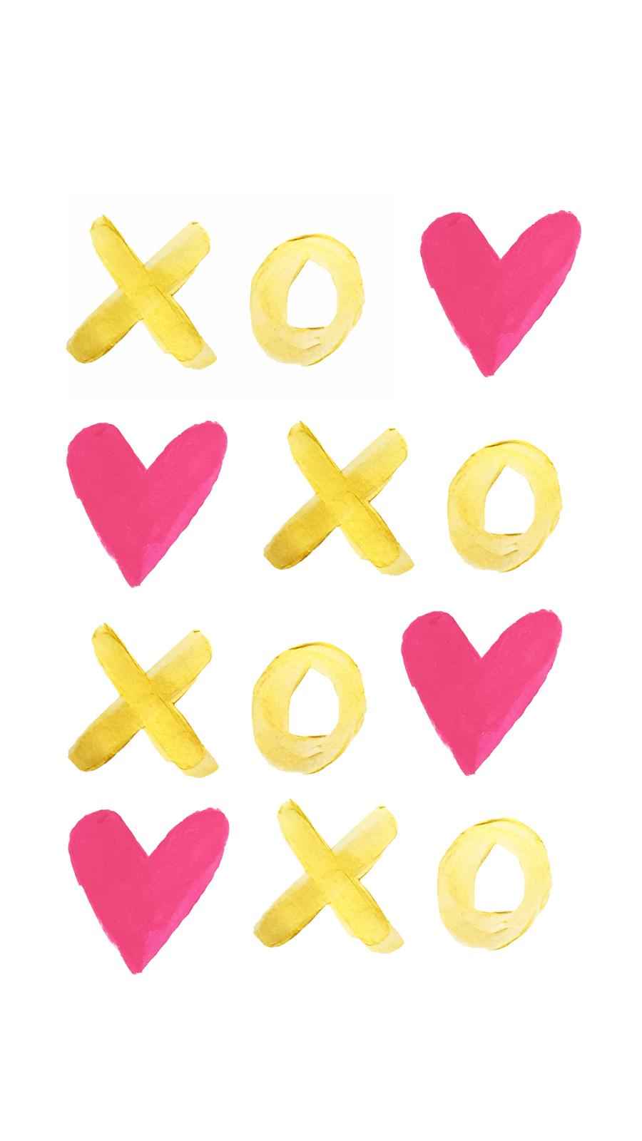 "La Petite Fashionista: Gold & Pink ""XOXO"" Painted Phone Wallpaper & Printable"