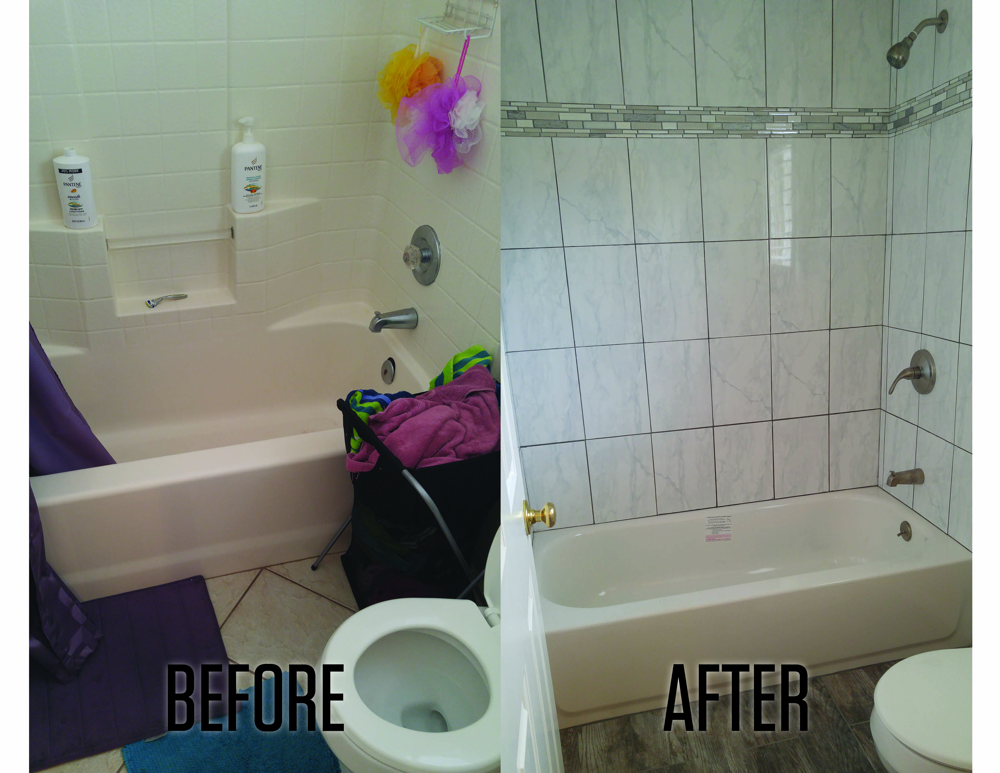 Marble tile shower with glass mosaic tile surround! #bathroomremodel ...
