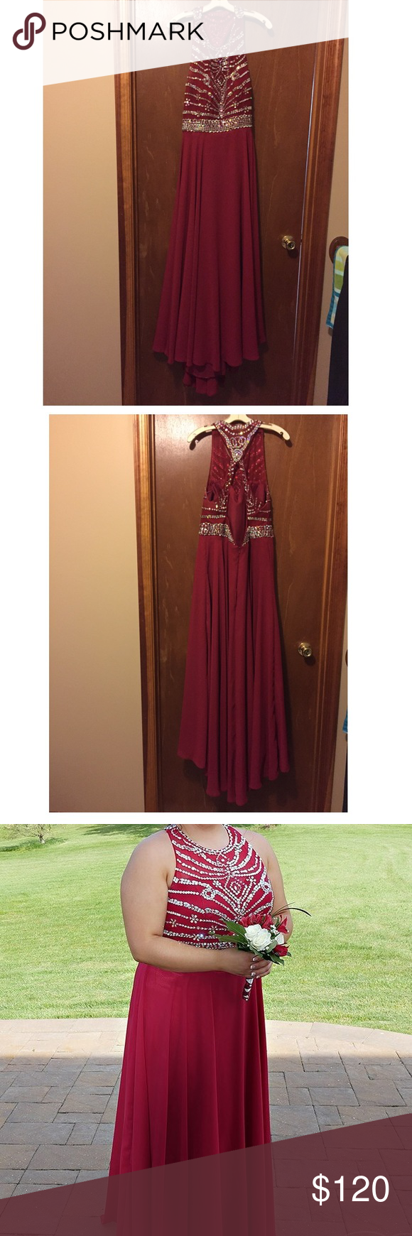 Red prom dress worn only once size and length was altered by