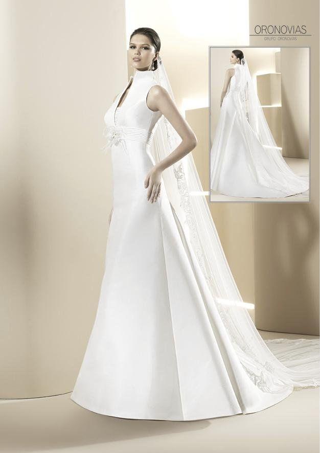 Vestido novia cuello chimenea