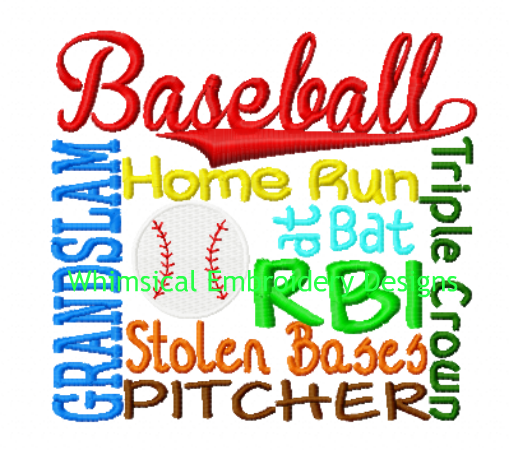 Baseball Subway Machine Embroidery Design Instant Download