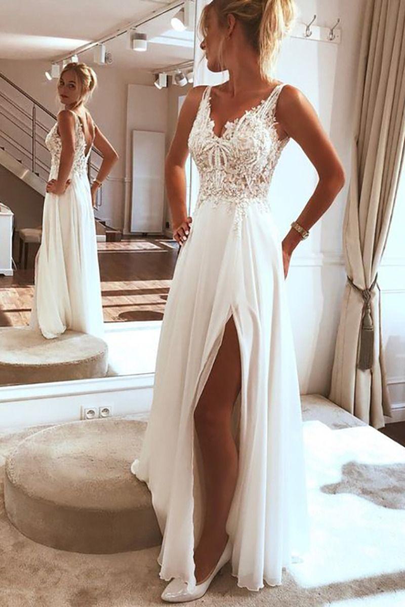 Elegant Chiffon Lace Spaghetti straps Appliques Beach Wedding ...
