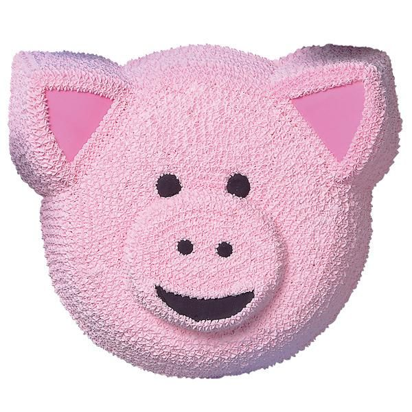 Pig Cake  - Crafting a little piggy cake couldn�t be easier. Simply bake your favorite cake recipe in our Animal Crackers Pan and create the porcine countenance with smoothed and piped buttercream icing.