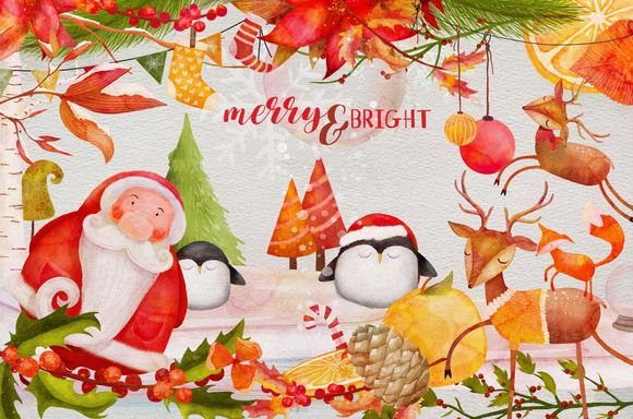 Merry & Bright Watercolor Graphics - Illustrations