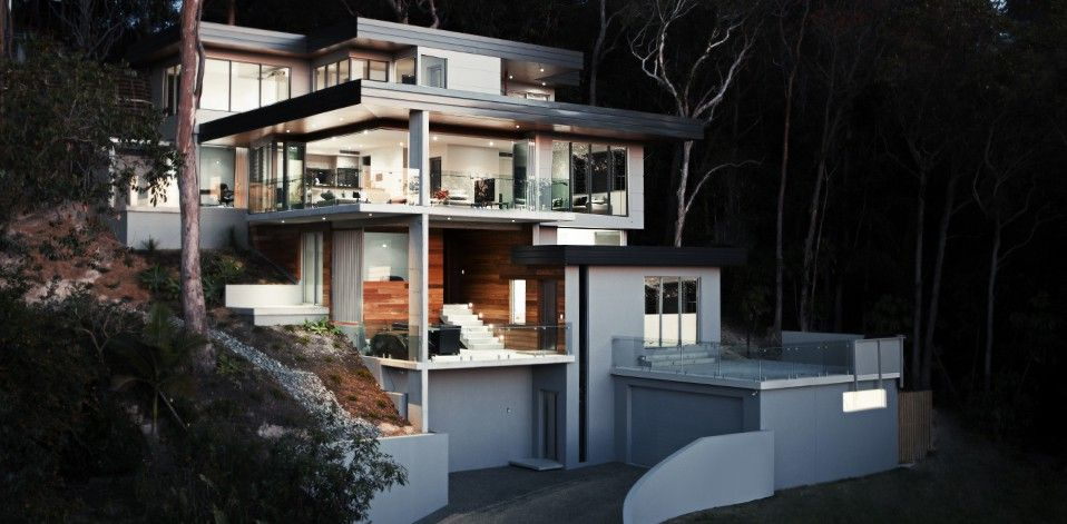 Steep Land Home Design House Architecture Design House Design Modern House Design