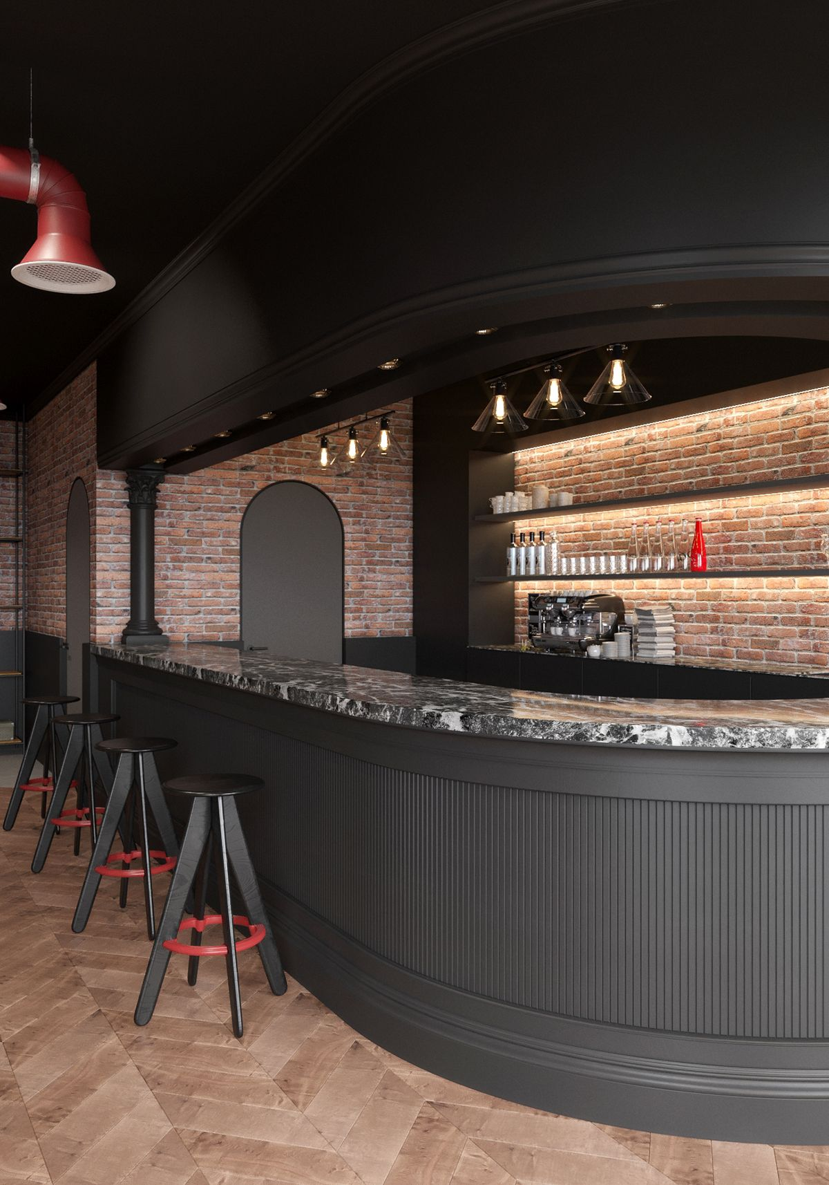 Modern Classic Cafe On Behance Rooftop Restaurant Design Bar Design Coffee Shop Bar