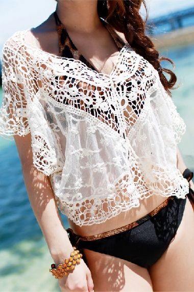 White Hollow-out Short Sleeves Lace T-shirt