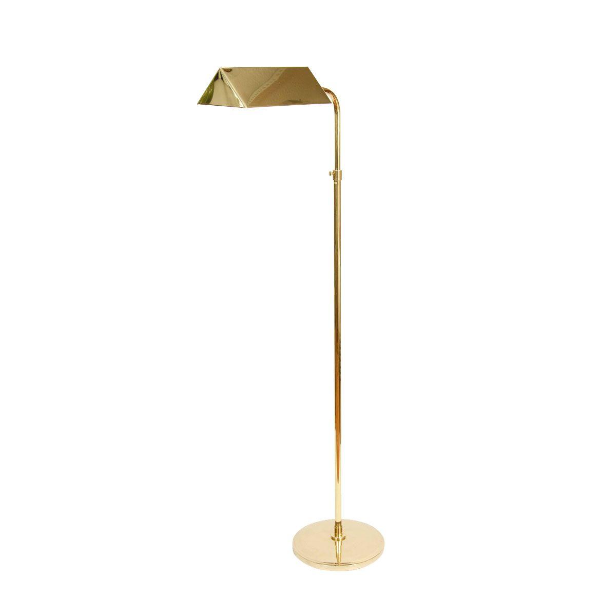 Single adjustable polished brass floor lamp with angular task single adjustable polished brass floor lamp with angular task light shade geotapseo Images