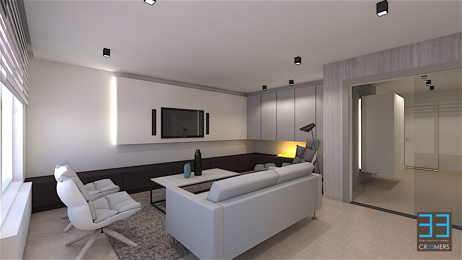 Modern Strak Interieur : Een interieurconcept van een modern strak interieur van een living