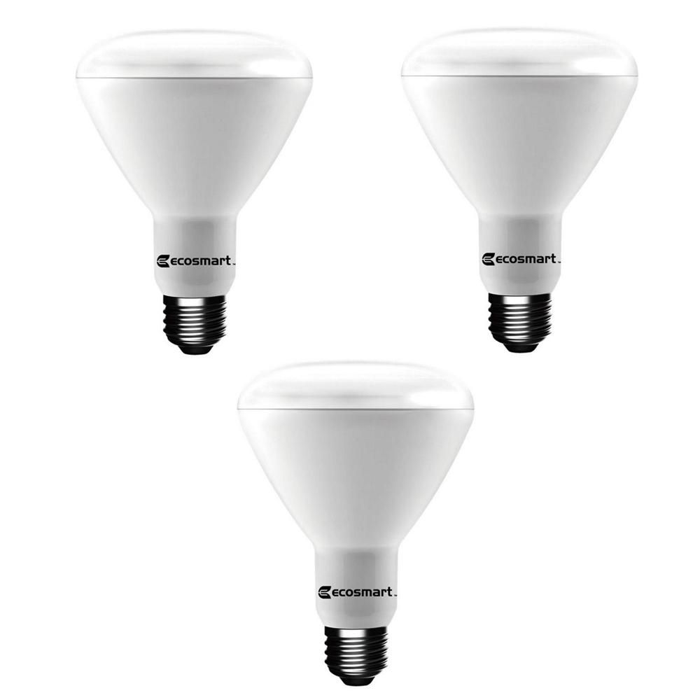 Ecosmart 65 Watt Equivalent Br30 Dimmable Led Light Bulb Bright White 3 Pack 1003030502 The Home Depot Light Bulb Led Light Bulb Dimmable Led Lights