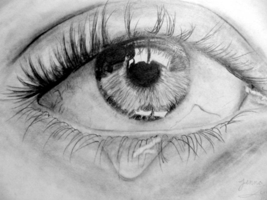 Drawings pencil of eyes crying