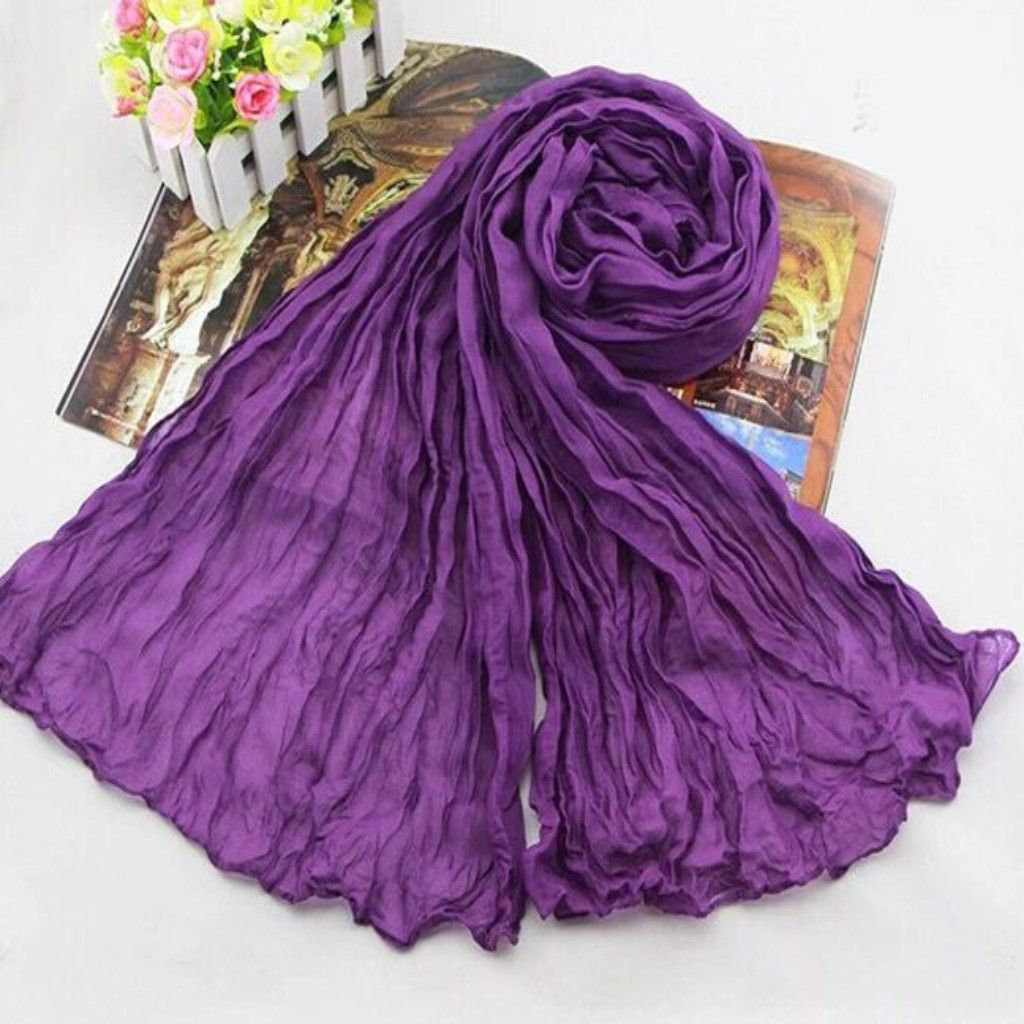180*50CM Long Cotton Wrinkled Scarves For Women | Products, Scarfs ...
