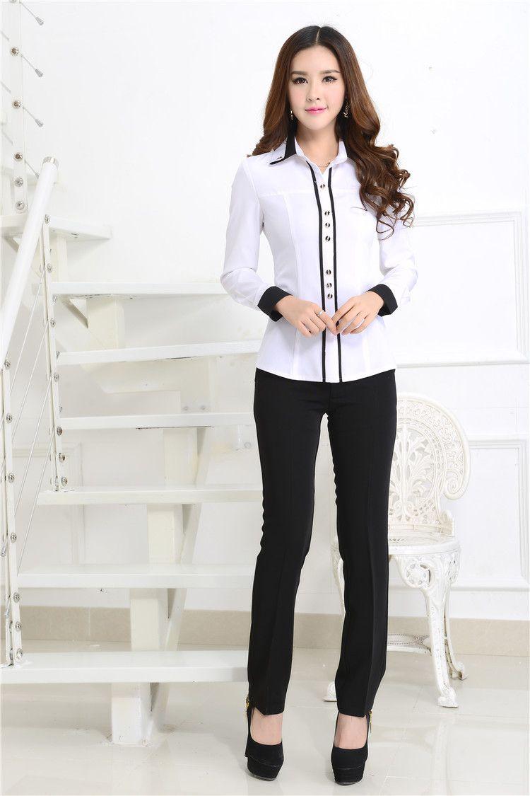 New 2015 Spring Autumn Formal White Shirts Women Blouses Work Wear ...