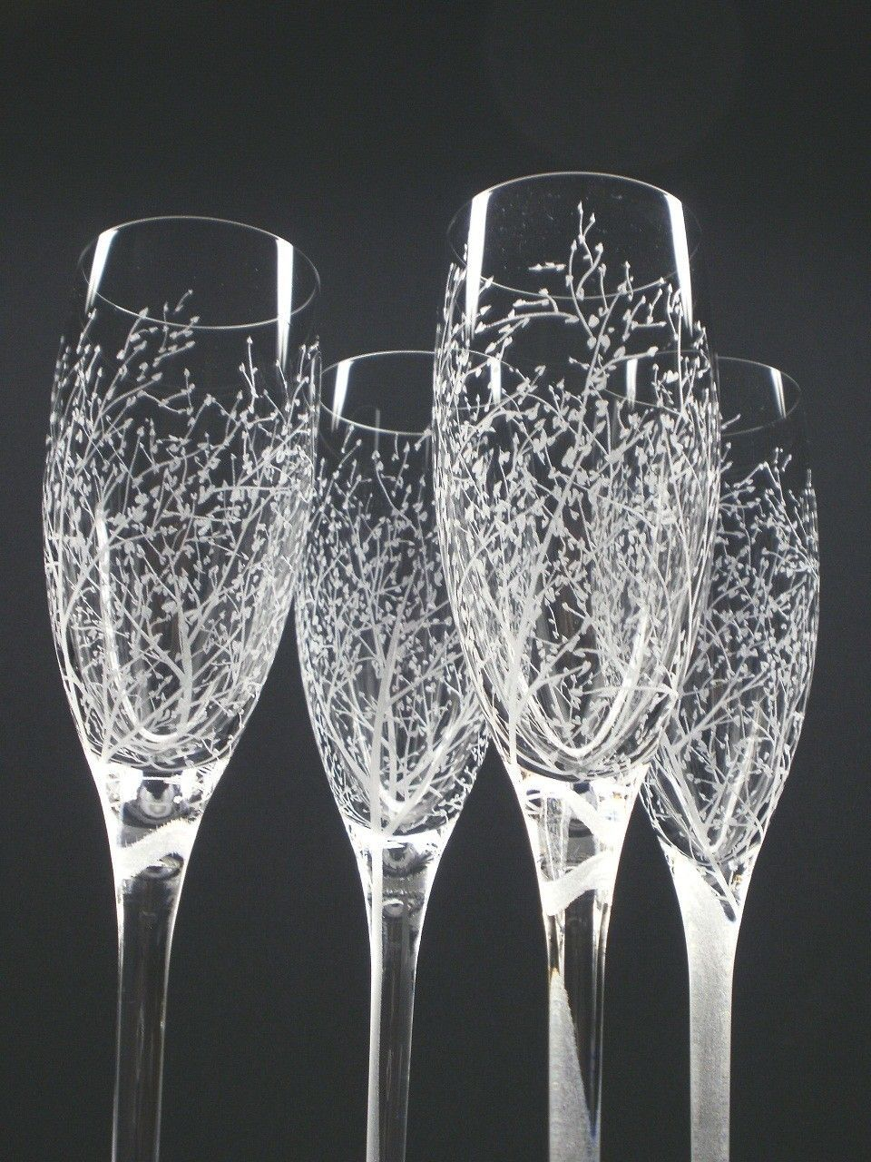 4 champagne flutes hand engraved branches and leaves want to use etching cream to paint designs on plain glasses and vases halloween design reviewsmspy
