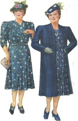 501dc16c0d96e 1940s Plus Size Fashion Advice. Plus size dress and long coat that matches  are best together.  1940sfashion  plussize