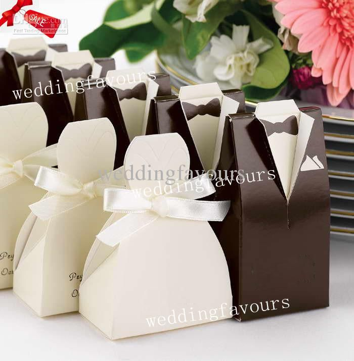 100pcs Lot Bride Groom Wedding Bridal Favor Boxes Candy Boxes