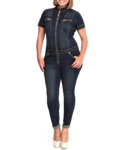 8e71df07be0 Baby Phat Denim Jumpsuit Lace Up Corset Back Womens Jean Jumper Plus Size